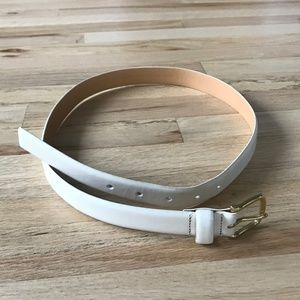 Ann Taylor Leather Trouser Belt White Small